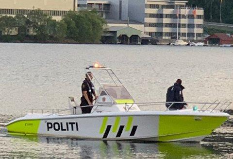 Politibåten fotografert i Flekkefjord i fjor sommer.