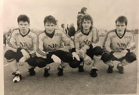 Et meget solid Glimt-forsvar fra 1992-sesongen. Ola Haldorsen, Trond Sollied, Petter Solli og Thomas Evjen.