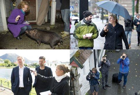 BA-LIVET: (1) Journalist Linda Hilland på en uvanlig sak med en minigris. Det                      meldes om et riktig godt intervju. (2) Politisk reporter Geir Kvile sammen med Erna. Kvile er høyt respektert etter mange år i bransjen. (3) Aina Fladset med byrådsleder Harald Schjelderup og byråd Dag Idar Ulstein. Hun tar det opp på bånd. (4) Fotografene retter ofte kameraene mot samme sted. Her er det en yrkesbror som får lide.