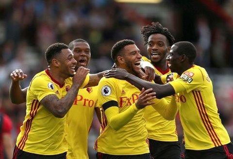 Watford og Etienne Capoue (midten) jubler etter seieren mot Bournemouth i august, men nå er oppturen over for London-klubben.