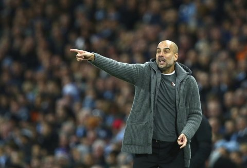 Manchester City's coach Pep Guardiola gives instructions during the English Premier League soccer match between Manchester City and Manchester United at the Etihad stadium in Manchester, England, Sunday, Nov. 11, 2018. (AP Photo/Dave Thompson)
