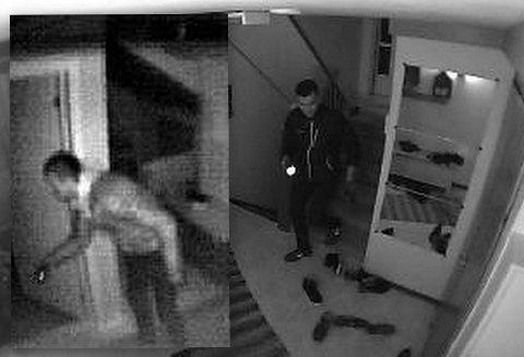 Tyvene ble filmet da de brøt seg inn i et hus i Lier.