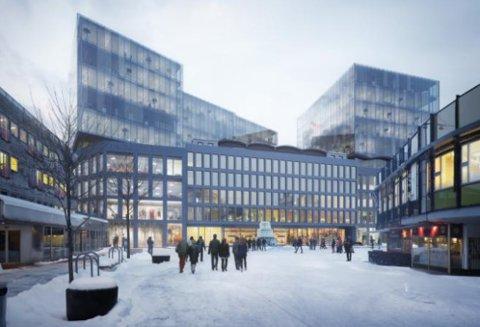 OMVELTENDE PLANER: Her er Globusgården slik vi kjenner den, mens Torgeir Vraas Plass 5-7 inneholder to høyhus på 37 meter hver.