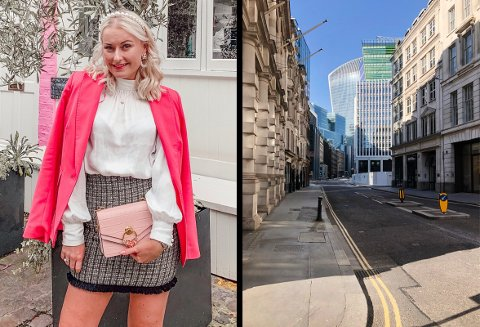 TOMME GATER: Christina Marie Parrington Hansen forteller om uvante tilstander i storbyen London. Innbyggerne er beordret til å holde seg innendørs så mye som mulig.