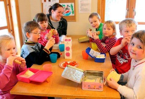NISTE: I dei fleste barnehagane i Flora er det framleis matpakke som gjeld, dei aller fleste dagane. Her frå Furuhaugane barnehage for ein del år sidan. Foto: arkiv