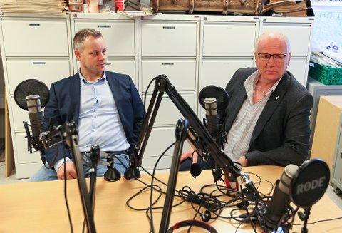 I STUDIO: Avtroppande fylkesleiar Jarl Magne Silden i saman med dagelg leiar Jon-Erik Henriksen i Fiskarlaget Nord.