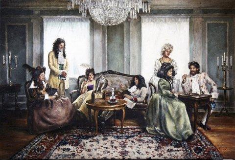 Anno-bildet: Dette maleriet som viser Anno-deltagerne i middelalderklær på Kjølberg gård skal nå stilles ut på Café de Concert på Tjuvholmen.