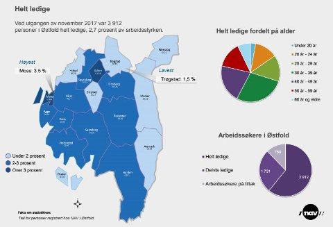 NESTEN 4000: Statistikken viser at de er flest ledige i de store kommunene i fylket. Det er også mange i aldersgruppene 25 - 29 og 30-39 år som er ledige.