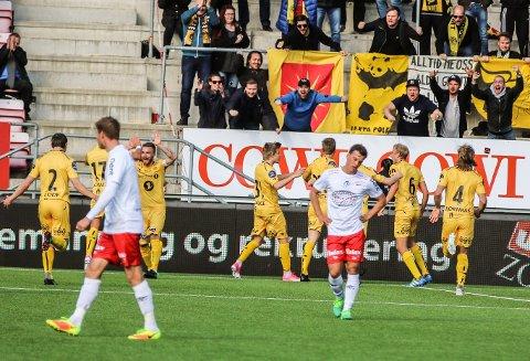 SCORE SIST: Kristian fardal Opseth feiret seiersmålet mot FFK på Stadion i våres. Onsdag håper Bodø/Glimt-spissen på flere fulltreffere. Foto: Harry Johansson