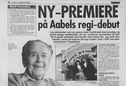 Så tilbake: Per Aabel mimret i 1992 i om sin regidebut i Oslo i 1932.