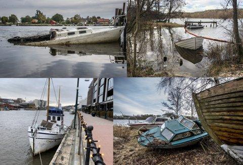 Dette er noen av båtvrakene som har skapt problemer i Fredrikstad de siste månedene.