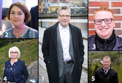 NOMINERT: Slik ser topp 5-lista til Halden Høyre ut før kommunevalget 2019. På topp står fortsatt ordfører Thor Edquist. Deretter følger Bjørg Kristin Lund, Fredrik Holm, Elin Lexander og Roar Lund.