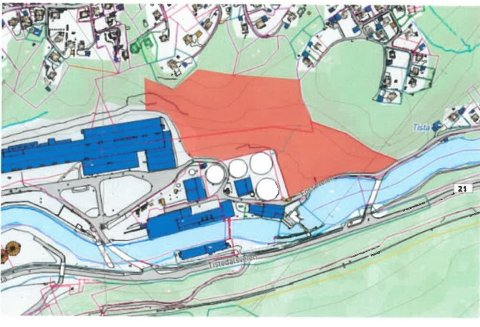 Norske Skog Saugbrugs har sendt innspill til Halden kommune om at det rødmerkede på kartet blir gjort om til næringsformål.