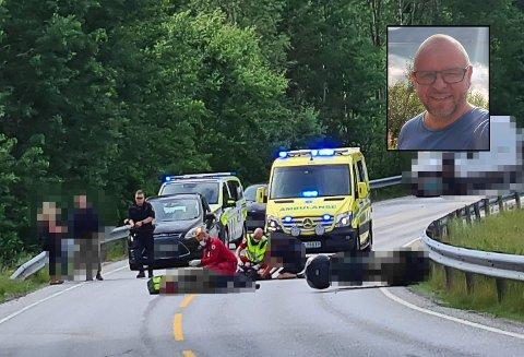 TRAFIKKULYKKE: Vegar Gransjøen var den første på ulykkesstedet etter at en MC med to personer og en bil med én person hadde krasjet. – Det var sterk kost, sier han om å se to personer ligge tilsynelatende livløse på bakken.