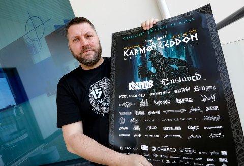 FIKK PRIS: Johnny Angelund, festivalsjef KarmøyGeddon  metallfestival fikk Karmøy kommunes kulturpris.