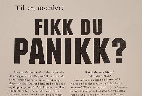 MELDING TIL EN MORDER: - Birgitte lar deg aldri slippe unna, skrev politiet på plakaten.