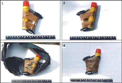 Dette er bilder av en rekonstruksjon av den hjemmelagde bomben. Ifølge dommen i Oslo tingrett bestod bomben av en «en crème brûlée-brenner (lighter)», en 300 milliliter beholder med butangass og splinter fra et nettinggjerde.