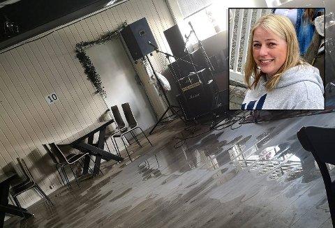 Flyter: Vannet fløt utover gulvet på Hangover bar på Bjørkelangen. Innehaver Kristine Lian Hagen fortviler.