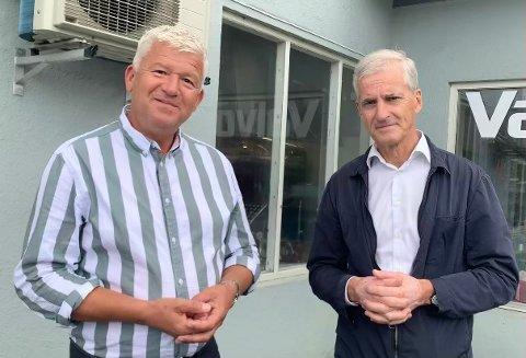 KANDIDATER: Jone Blikra (Ap) fra Kragerø ønsker seg en plass på Stortinget. Her sammen med Jonas Gahr Støre (Ap), som ønsker å flytte inn på statsministerens kontor.