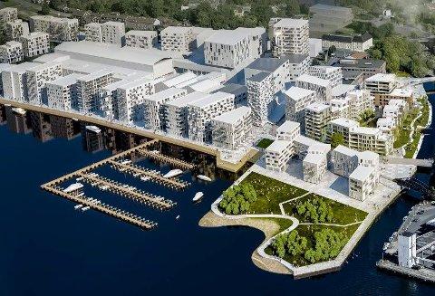 Store, nye områder: Det bygges mye i Moss for tiden, blant annet på Verket. Erling Dokk Holm mener det stilles altfor lave krav til arkitektur i kommunen. illustrasjon: höegh eiendom