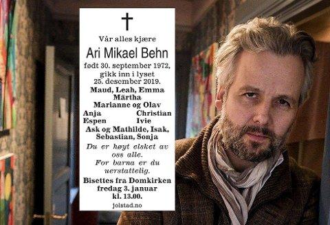 Forfatter Ari Behn døde 1. juledag. Han ble 47 år gammel.