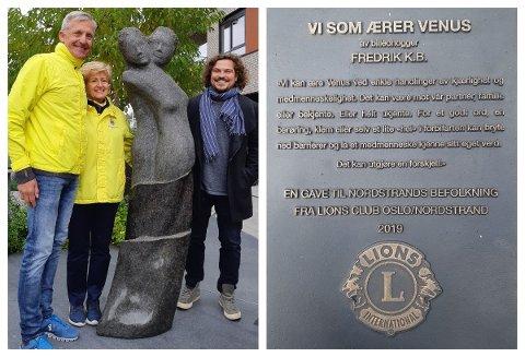 Nordstrand Lions' 60-årsgave til Nordstrands befolkning, på Sæter Torg (Christian Johansen, Elisabeth Kaare og kunstner Fredrik K.B.)