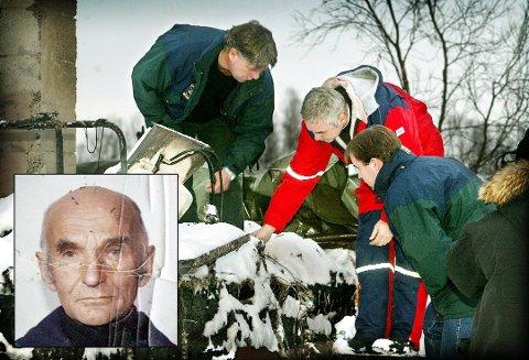 FUNENT DREPT: Erling Eriksen (85) (innfelt) ble funnet død i brannruinene av huset sitt på Breivikeidet i november 2002. 14 år senere har ennå saken status som uoppklart, men et vitne hevder at en mann som tidligere var siktet, har innrømmet at han begikk drapet. Mannen nekter for det.