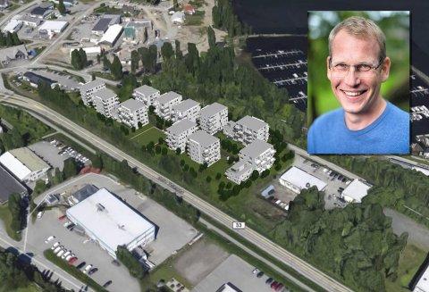 BOLIGBLOKKER: – Vi  ser for oss rundt 130 leiligheter i småblokkbegyggelse, sier Kristoffer Haugenes, daglig leder i Øst Eiendom.  Tegningen ble laget i forbindelse med reguleringsplanen i 2016.
