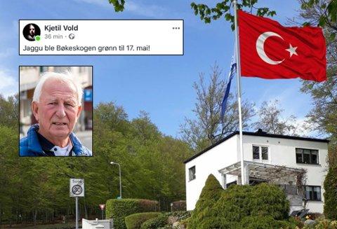 SER IKKE HUMOREN: Terje Anthonsen (innfelt) synes ikke Kjetil Volds forsøk på flaggdebatt-humor er særlig morsom.