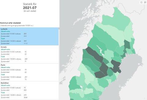 Lycksele, Sorsele, Åsele og Skellefteå er nå de fire hardest rammede kommunene i Sverige.