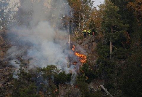 BRANN: Brannvesenet fikk søndag morgen melding om brann i terrenget på Lundehøgda utenfor Moelv. På det meste var om lag 30 brannfolk og personell fra Sivilforsvaret i aksjon, og det var vanskelig å få fram utstyr til det aktuelle området.