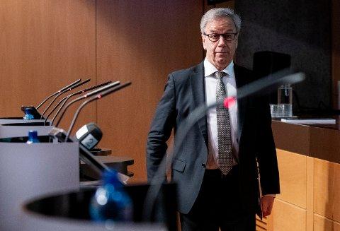 Sentralbanksjef Øystein Olsen kunngjør torsdag en ny rentebeslutning fra hovedstyret i Norges Bank. Foto: Berit Roald / NTB scanpix