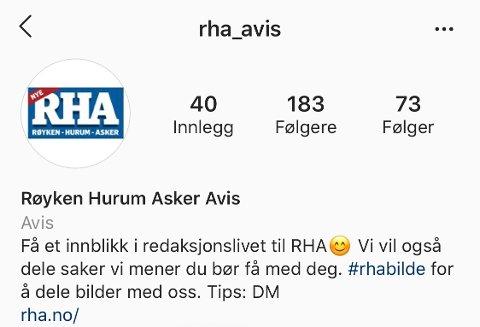 APP: Vi er tilgjengelig på bilde-delingstjenesten Instagram. Følg oss på @rha_avis.