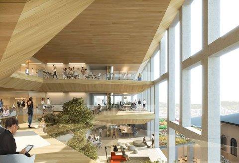 LYSNING: Indre atrium i regjeringskvartalet. (Illustrasjon: Team G8+)