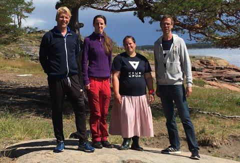 FERIETILBUD: Har fokusert på ferietilbud for barn i sårbar gruppe. Fra venstre: Petter Olsen, Cecilie Fongen Bjørnstad, Elisabeth Granli og Jan Otto Bustadmo.