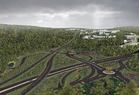 VINTERBRO: Slik blir det nye krysset på Vinterbro. Vi ser E18 forsvinne mot Ski bakerst i bildet, og E6 mot Moss til høyre. Det kan gå flere år før byggingen av den nye veien starter.