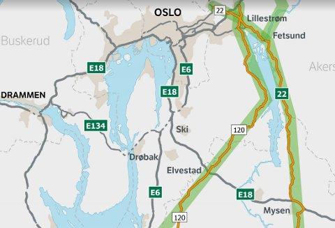 Er det tverrforbindelsen vest eller øst for Øyeren som er best for samfunnet å ruste opp? Det jobber Statens vegvesen med å utrede.