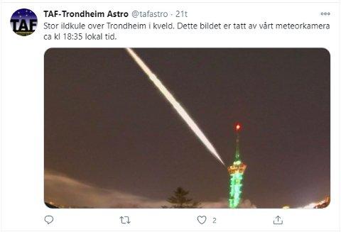 BILDE: Stor ildkule over Trondheim i kveld. Dette bildet er tatt av vårt meteorkamera ca kl 18:35 lokal tid, skriver Trondheim Astronomisk forening på Twitter.