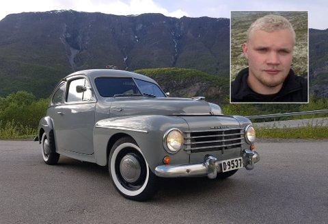 SEL VETERANEN: Sverre Vee (28) har bestemt seg for å selja denne veteranen, ein Volvo PV 444c, førstegangsregistrert i 1951.
