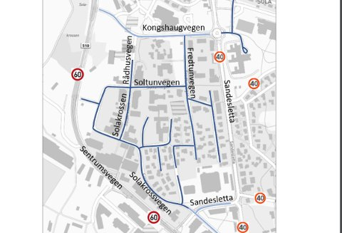 Slik vil kommunen og Statens vegvesen endre fartsgrensene i Sola sentrum. Alle veiene markert med blått (lys og mørk) foreslås å ha 30-grense.