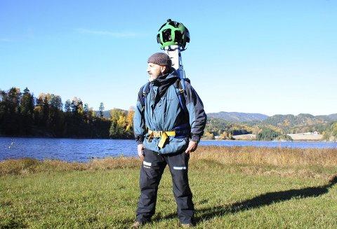 På tur: Bjørn Heidenstrøm lager virtuell tracking av Sauherad og Telemark for Google. Vintermånedene skal han bruke til å få ordførere og rådmenn til å bli med på konseptet.