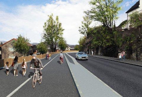 MANGE ÅRS VENTING: En ny gang og sykkelsti fra Klevstrand til Skrapeklev har vært planlagt i mange år.