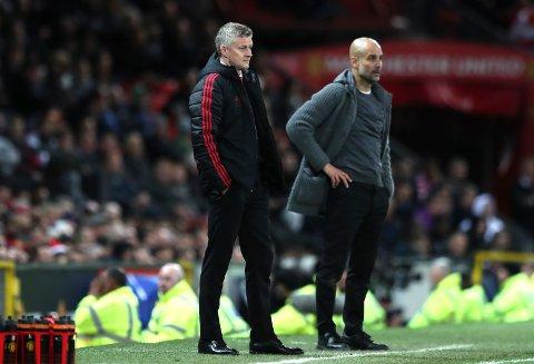 Pep Guardiolas (høyre) posisjon på pengetoppen er helt overlegen etter at Jose Mourinho ble erstattet av Ole Gunnar Solskjær i desember i fjor.