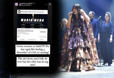 Maria Mena under en konsert i Braatthallen i Kristiansund i november 2018. I høst kommer hun tilbake til Nordmøre, men det er også opprettet et falskt arrangement på Facebook som utgir seg for å skulle sende en Mena-konsert fra Festiviteten.