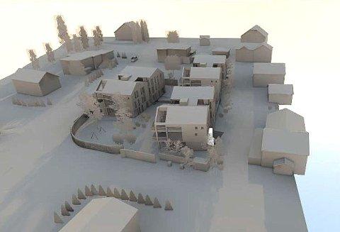 18 BOENHETER: Slik ser utbyggeren for seg at boligprosjektet på den gamle bakeritomta kan bli. Ringshaugveien går til venstre for de nye husene, Rosenlundveien ses foran husene. Illustrasjon: Ringshaug Panorama