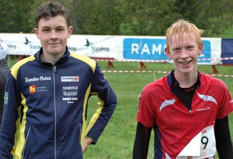 TIL TOPPS: Tobias Alstad, Frol (t.v.) og Martin Vehus Skjerve, Verdal, vant hver sin juniorklasse under lørdagens VM-uttakingsløp ved Heistadmoen.