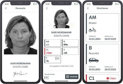 DIGITALE FØRERKORT: En av fordelene med det digitale førerkortet er at det skal være lett å lese hvilke førerrettigheter du har blant annet fordi de små kodene bak på plastkortet er i den digitale versjonen forklart med tekst.