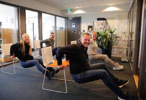 Sosial støtte er viktigst for å være aktiv, mener fv. Svenn Erik Bolle (front) og kollegaene Christine Bjelland , Lone Hagelund og Jarle Blindheim.
