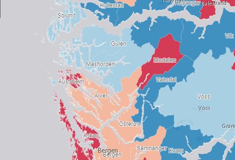 Blå tyder liten eller ingen vekst. Raud tyder stor vekst i folketalet.