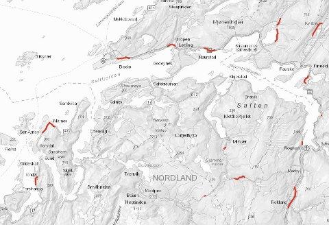 Her er kartet som viser hvor Statens vegvesen planlegger å asfaltere i sommer. Foto: Skjermdump Statens vegvesen